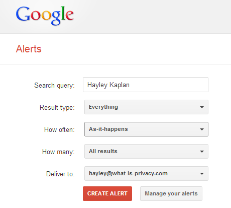 Google Alerts are easy to set
