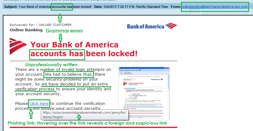 Bank of America email