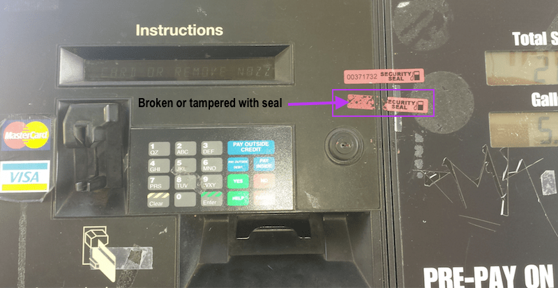 Unsafe seal at the pump