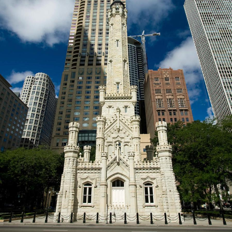 The Gothic Revival watertower was built in 1869, a time when such watertowers were architectural marvels instead of urban blights. It was used to hide the less attractive standpipe - and this particular standpipe was pumping water from Lake Michigan. Contrary to popular belief, it was not the only building to survive the Great Fire of 1871 in Chicago but it was certainly the most recognizable.