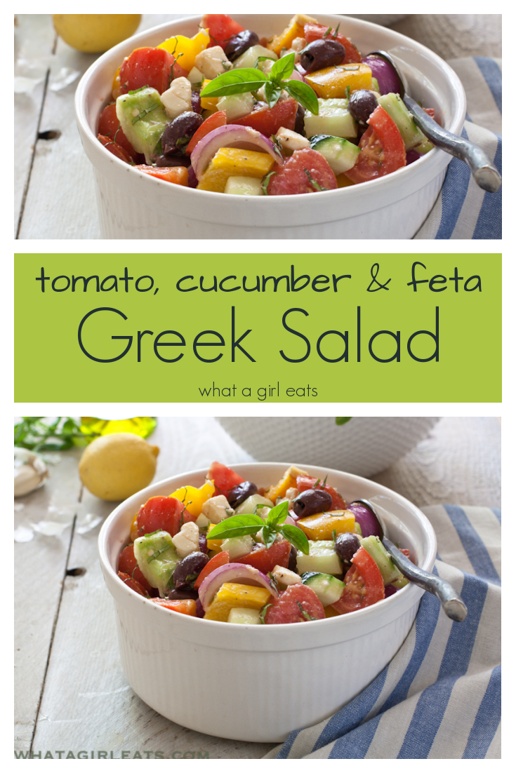 Greek Salad with colorful veggies, feta, artichoke hearts and olives in a light lemon and herb dressing.