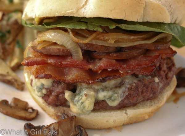 Applewood smoked bacon and bleu cheese burger with caramelized onions and mushrooms