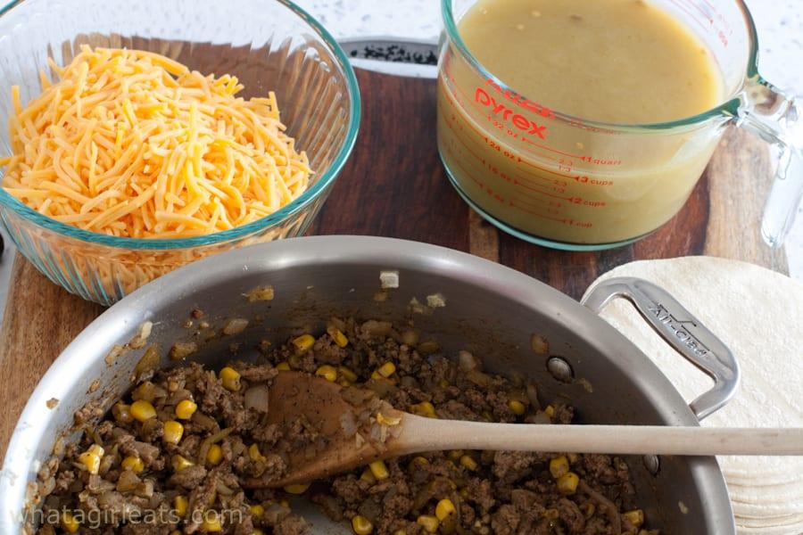 Ground turkey for enchilada casserole