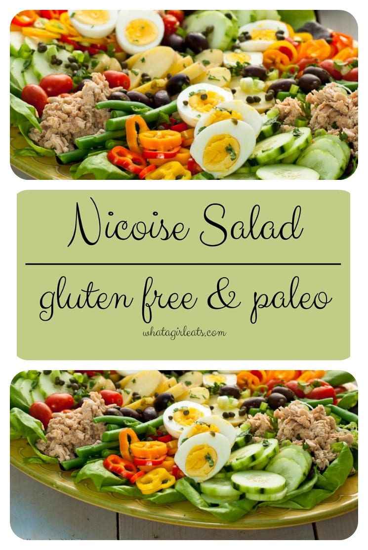 Salade Nicoise, a classic composed country French salad with salmon. Gluten free and paleo!