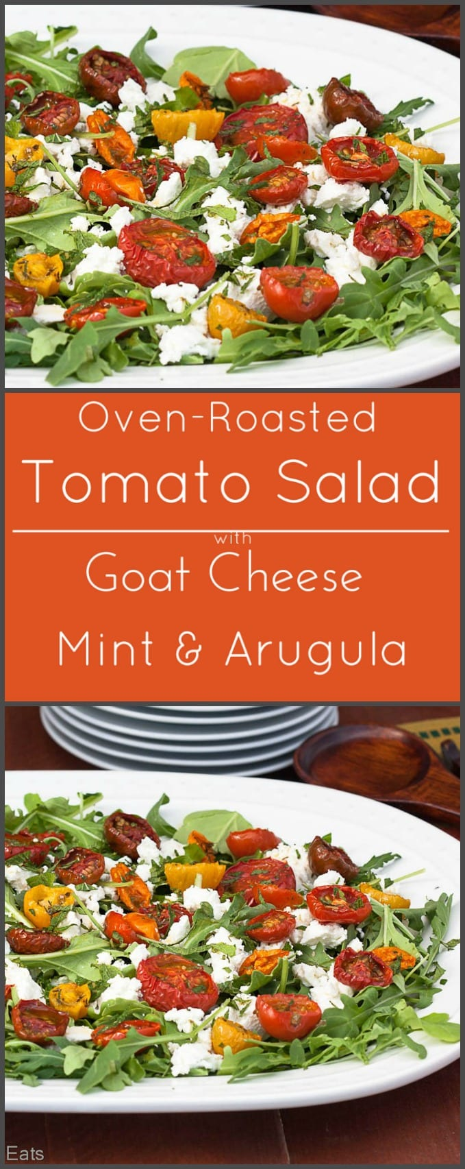 Oven roasted tomato salad with goat cheese, mint and arugula is low carb and gluten free!