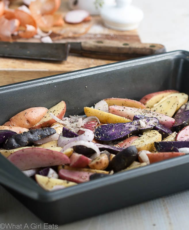 Roasted fingerling potatoes become a delicious side dish when they're tossed with fresh tarragon aioli.