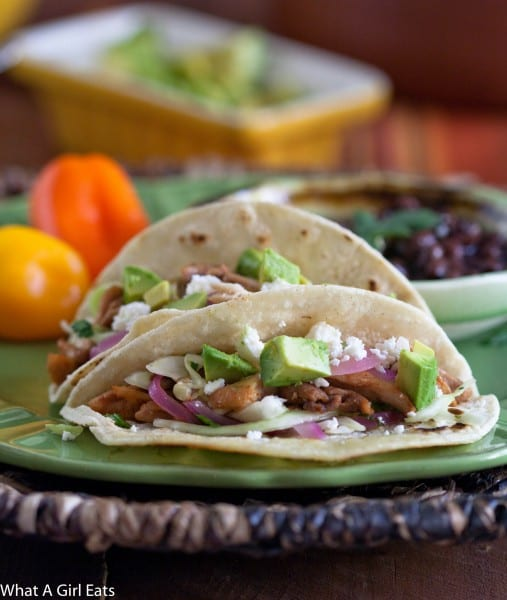 Chicken Tacos with Pickled Onion and Cilantro Slaw