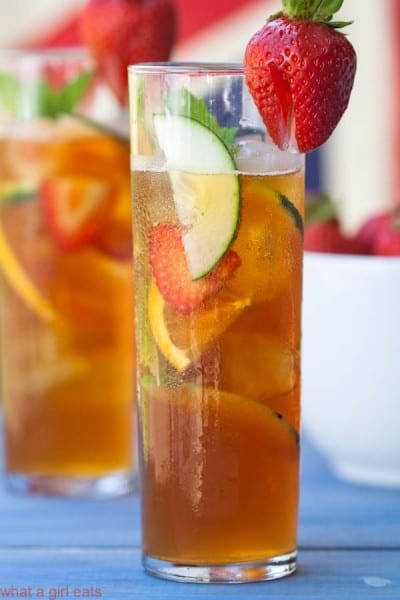 Pimm's Cup is to England, whatSangria is to Spain - a light, fruity and refreshing summertime beverage. Get the easy cocktails recipe from @whatagirleats