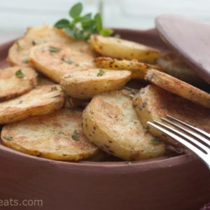The crispiest ever roasted potatoes! Add garlic, herbs and feta for a Greek Version!