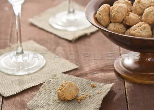 Cheese balls are usually tasty, but when the recipe comes from a culinary legend, and they're easy to make, they're extraordinarily amazing!   Get the recipe on WhatAGirlEats.com