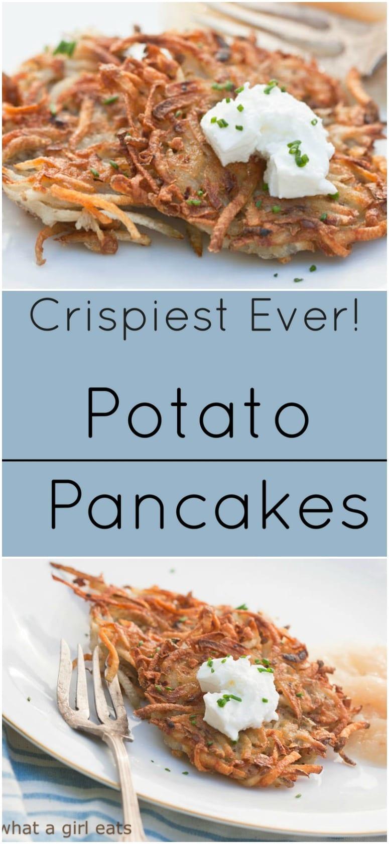 Crispiest ever potato pancakes (latkes) with sour cream and apple sauce.