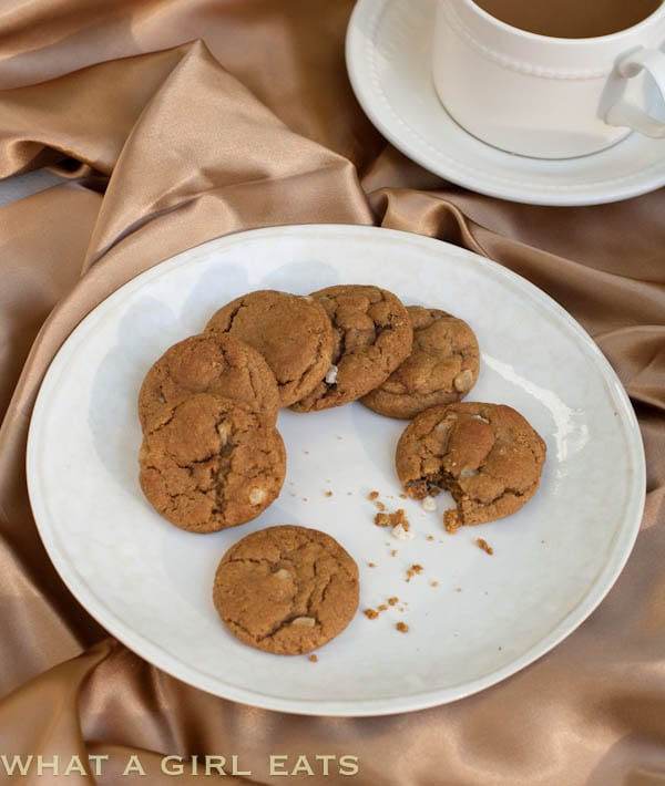Ginger Chip Spice Cookies are filled with the flavors of the holiday season. They're easy to make and are a great addition to a holiday cookie platter! | WhatAGirlEats.com