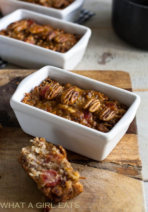 Gluten free fruitcake recipe is perfect for people who can't or don't consume wheat or alcohol. Unlike a traditional fruitcake recipe, but still delicious!   WhatAGirlEats.com