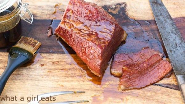 Triple whiskey glazed corned beef.