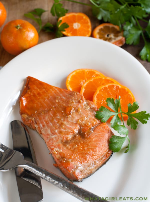 Easy baked Marmalade Salmon. whatagirleats.com