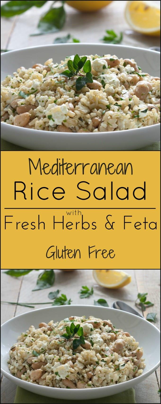 Gluten free summer side dish, Mediterranean Rice Salad with Feta and Fresh herbs.