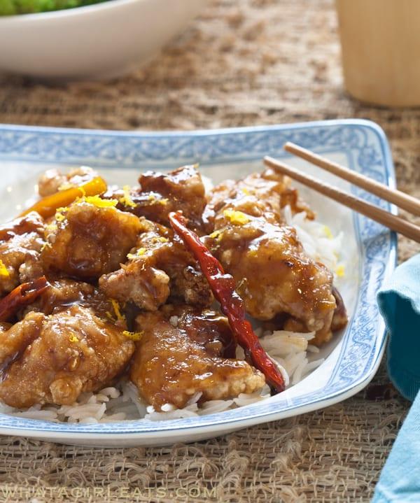 Better than Panda Express Orange Chicken. Get the recipe on WhatAGirlEats.com