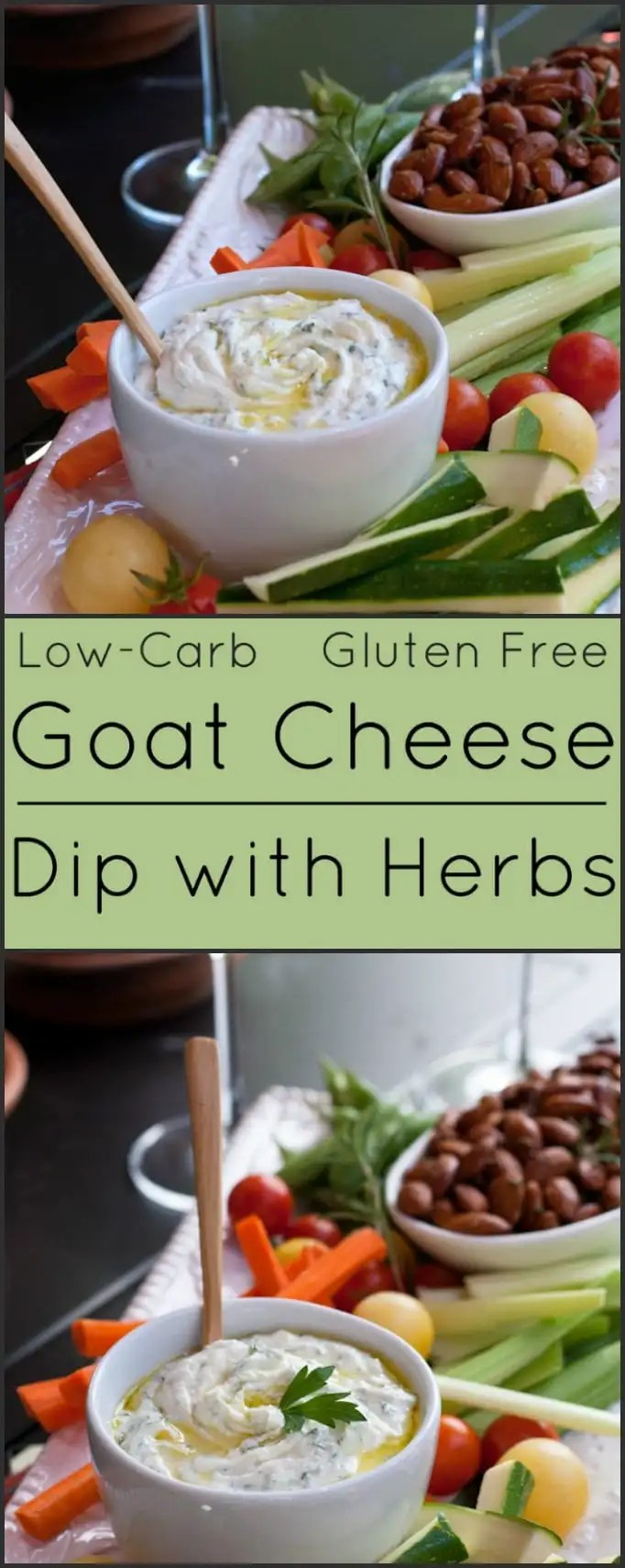 This Goat Cheese Dip with Herbs is low-carb and gluten free. It's a healthy addition to any party.