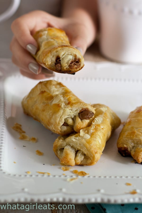 Petit Pain au Chocolat - a classic French puff pastry, filled with chocolate. Get the recipe from What a Girl Eats.