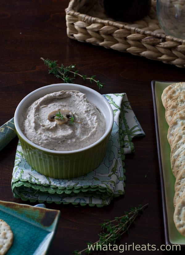 Mushroom spread is a creamy holiday dip recipe, made with earthy mushrooms, cream cheese, and spices. Don't let the gray color keep you from the great taste!   Recipe on WhatAGirlEats.com