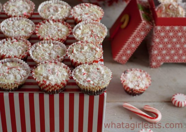 Copycat Peppermint Bark Cups. I used some old boxes I found in my Christmas wrapping stuff to package them.