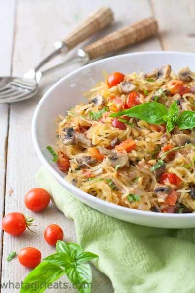 Paleo Spaghetti Squash with mushrooms, tomatoes and basil. Vegan and gluten free!