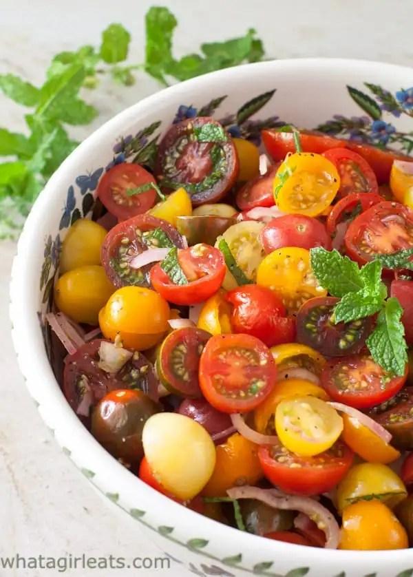 Tomato Balsamic Mint Salad. Gluten Free and vegan.
