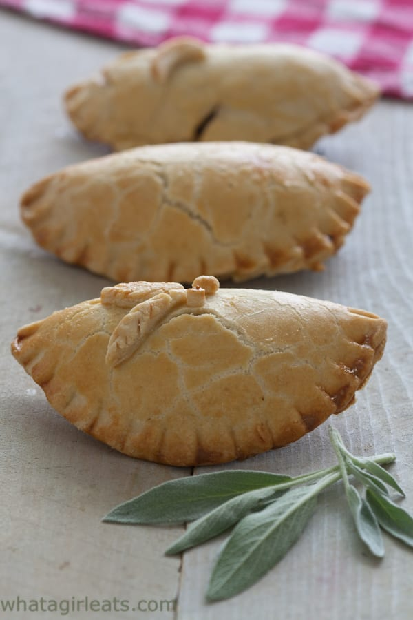 Savory Sausage, Apple-Sage Hand pies. Perfect for picnics, tailgating or lunches.