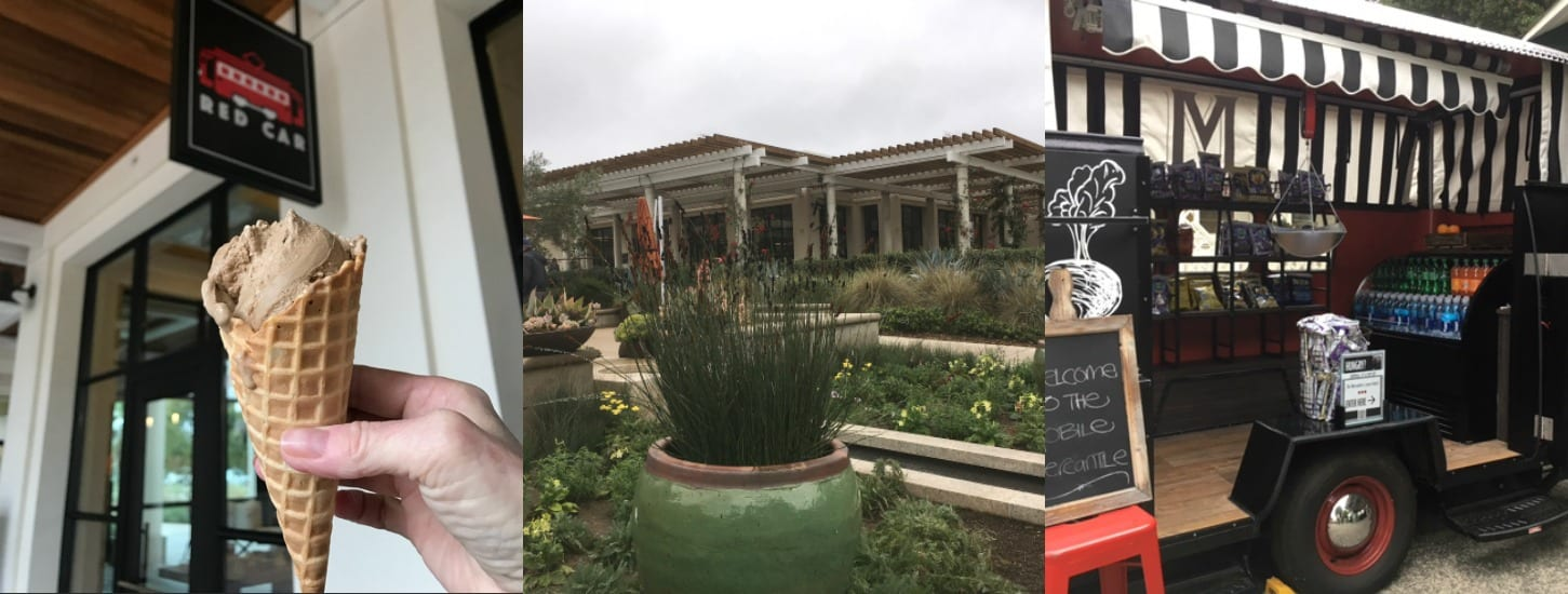 Huntington Garden Food Truck and Red Car. On the way out, stop by the Red Car for a gelato or an affagoto. The exterior of the 1919 Cafe, and the Mobile Mercantile which sells quick snacks and drinks on busy days.