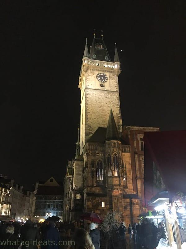 Prague clock tower night