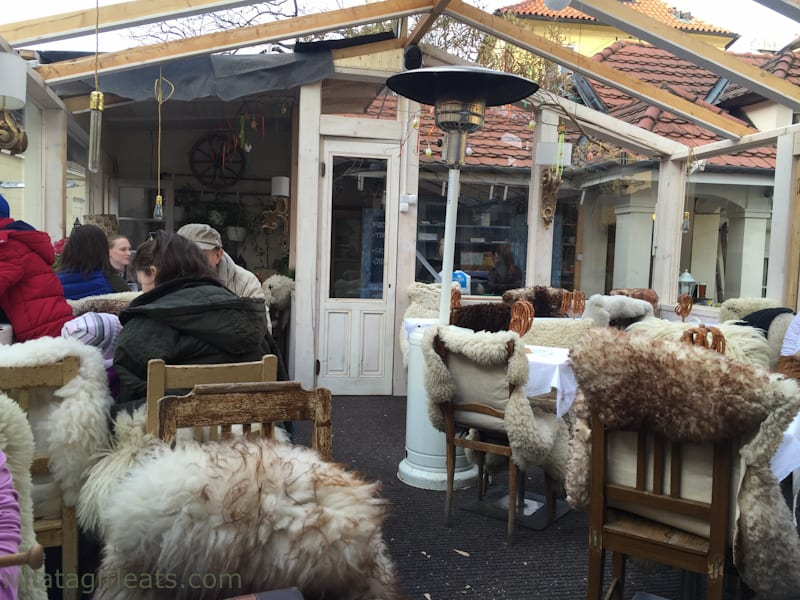 Dining outdoors is encouraged and is quite pleasant with sheepskin covering the chairs and heat lamps or fireplaces everywhere.