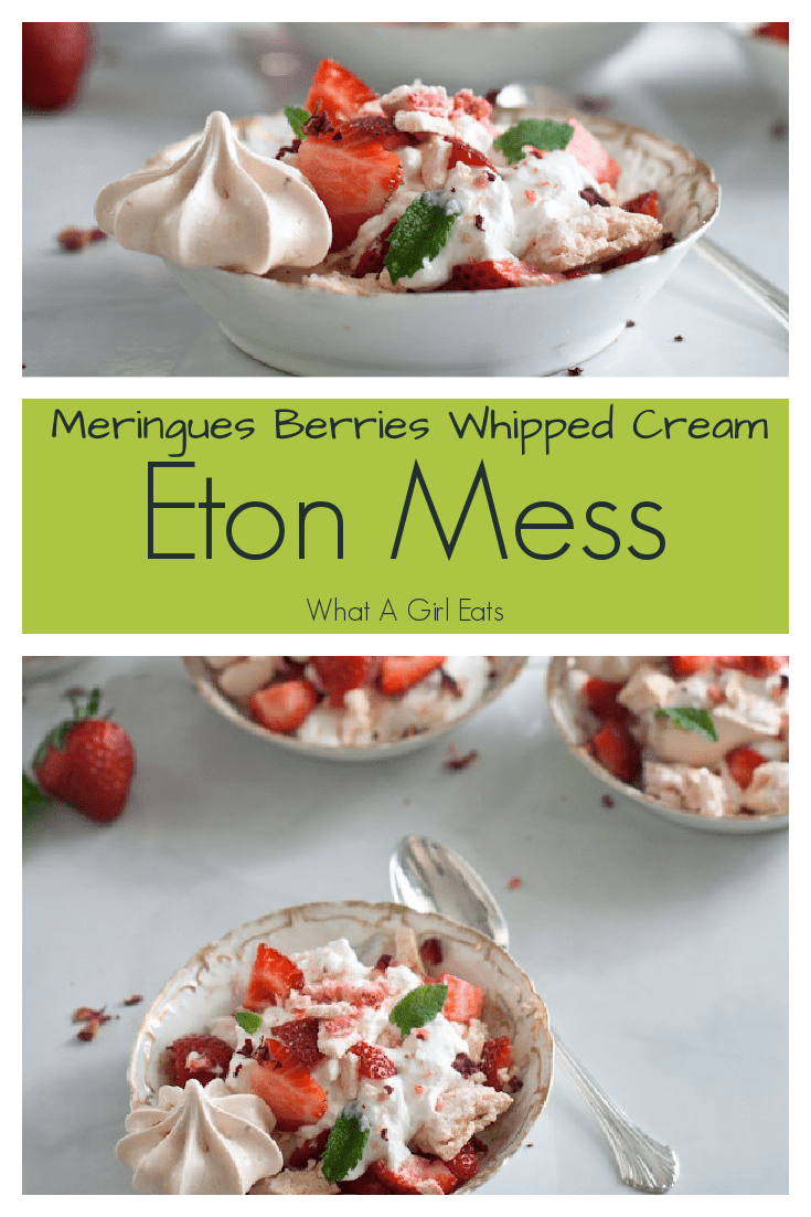 Eton Mess with strawberry meringues, fresh whipped cream and fresh berries. A classic English summertime dessert.