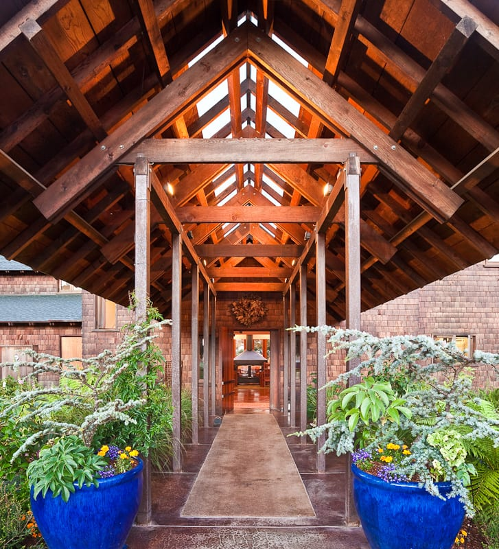 The grand entrance to the Brewery Gulch Inn with its 10 foot high doors made of eco-salvaged lumber.