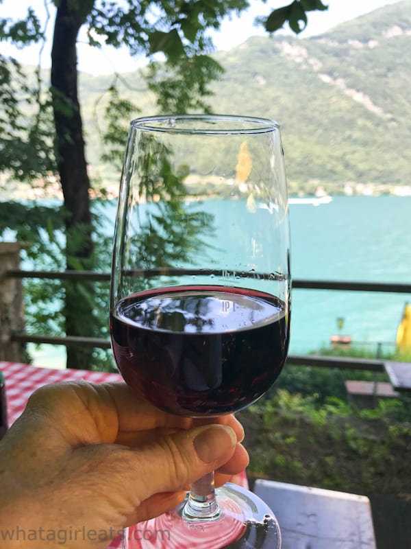 Red wine in a glass overlooking
