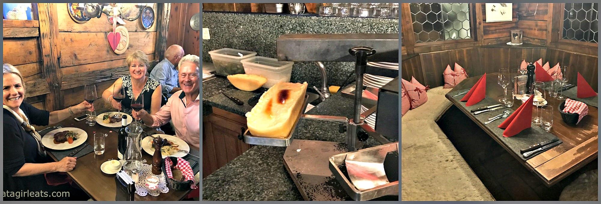 Schaferstube restaurant collage raclette and booths
