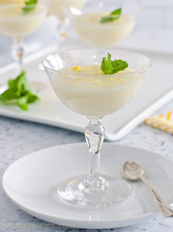 lemon posset in crystal glass