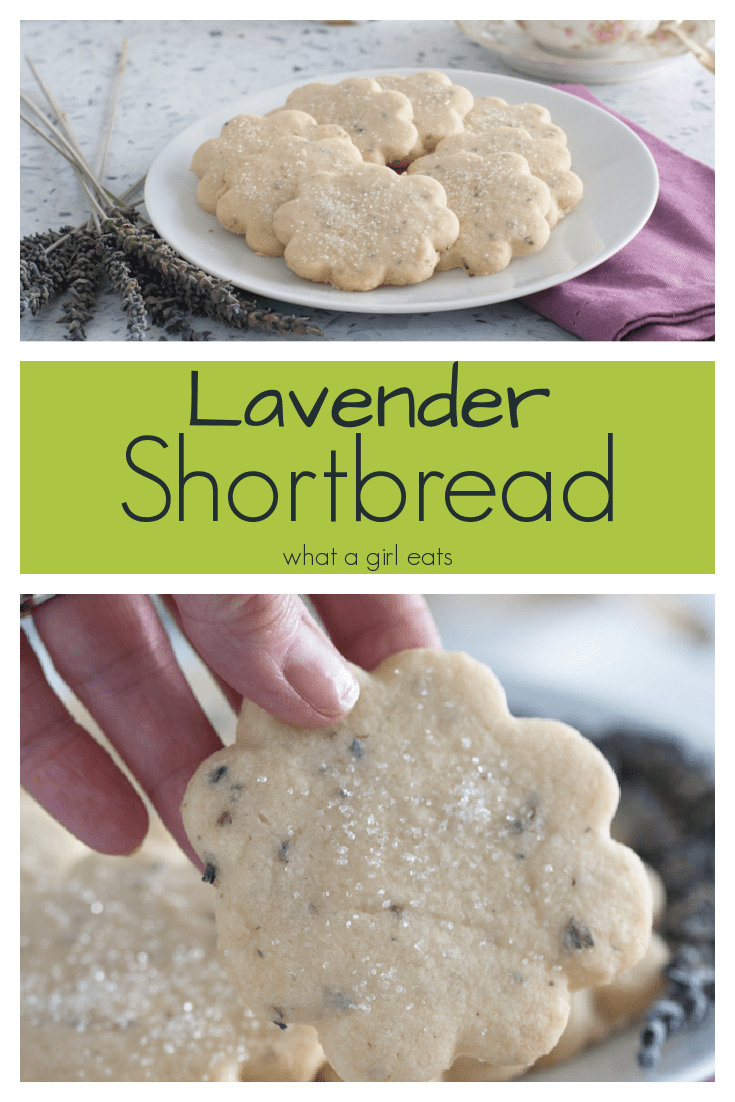 Lavender scented shortbread is a delicious floral scented cookie that is perfect with a cup of tea!