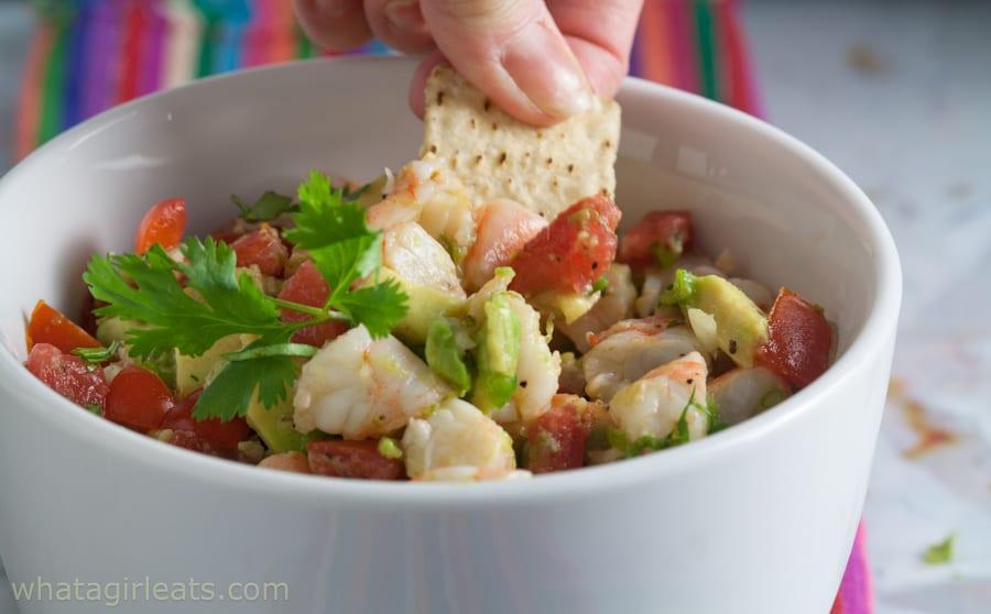 shrimp ceviche in a bowl
