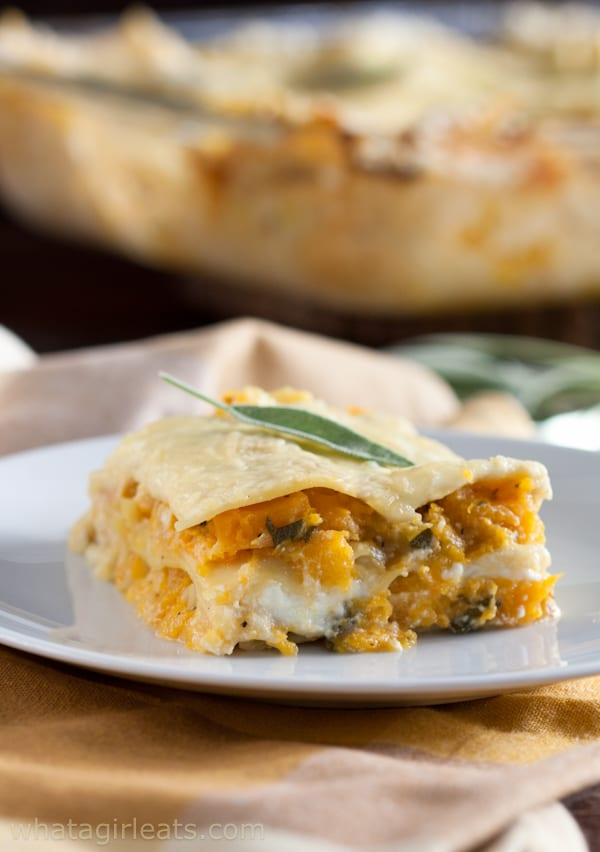 Butternut squash lasagna on plate