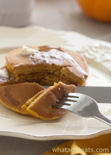 pumpkin pancakes cut plate