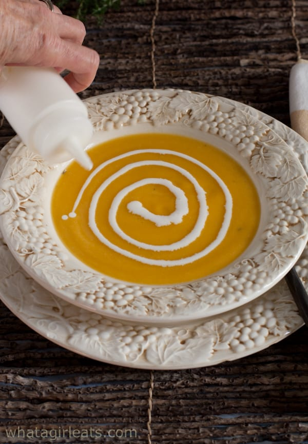 swirl of cream in soup