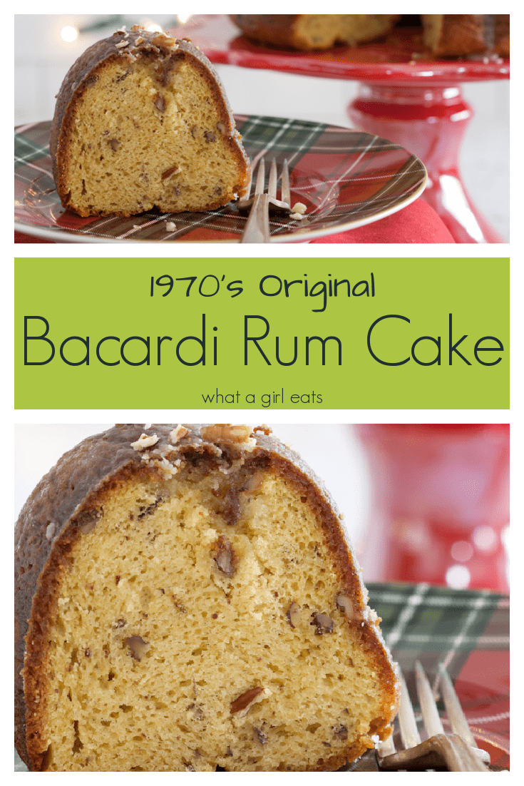 This vintage recipe for rum cake comes from the Bacardi recipe from the 1970's. Rich yellow cake is studded with nuts and soaked in a rum glaze.