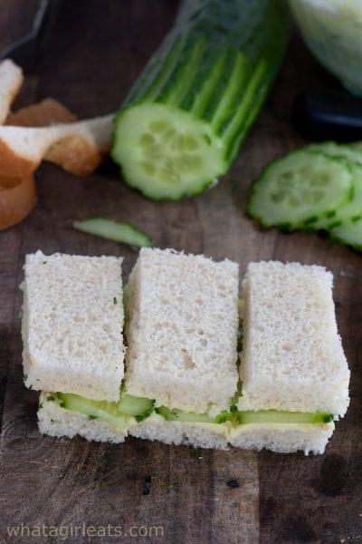 cucumber tea sandwiches cut in thirds