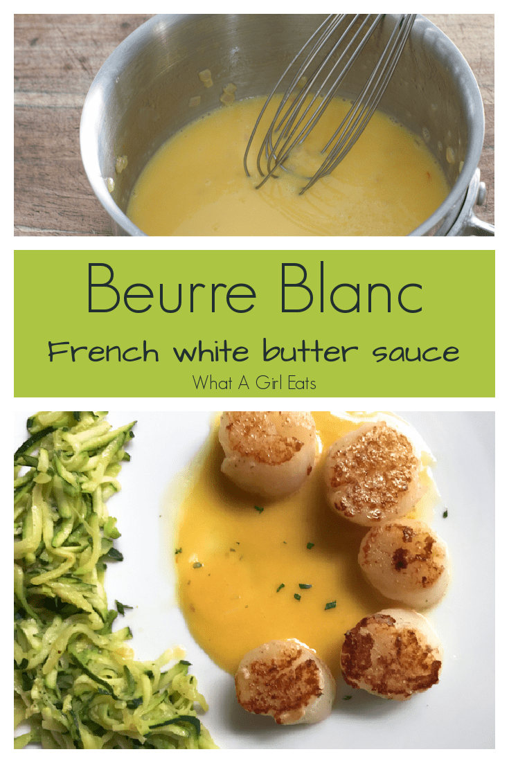 Beurre Blanc with saffron is a delicate white butter sauce that pairs beautifully with scallops, chicken, fish or vegetables.