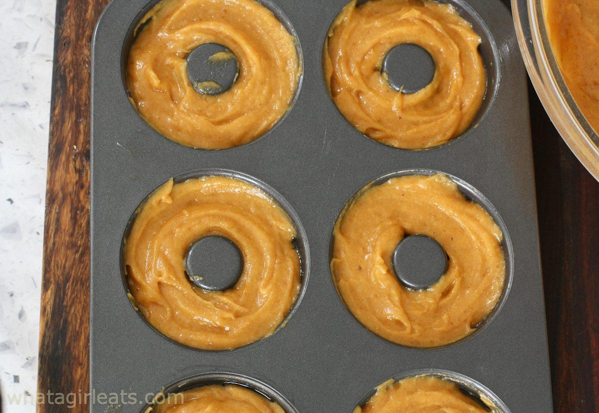 gluten free donut batter in tin
