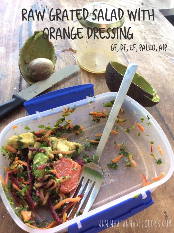 raw grated salad with oranage dressing
