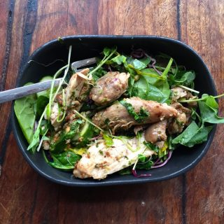 Warm chicken salad & mixed herb dressing