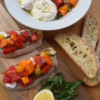 Heirloom Tomato + Burrata Bruschetta