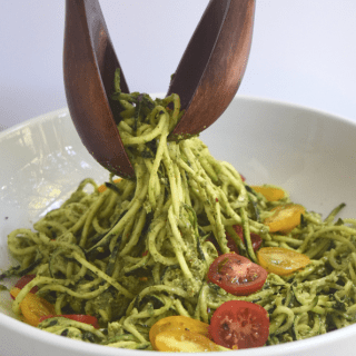 Creamy Zucchini Noodles with Basil Pesto + Roasted Tomatoes
