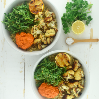 Quinoa Bowls with Romesco Sauce + Roasted Cauliflower